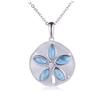 Sterling Silver Larimar Inlay CZ Sand Dollar Pendant(Chain Sold Separately)