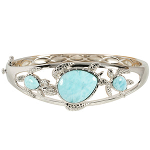 Sterling Silver Three Larimar Turtle Bangle Bracelet