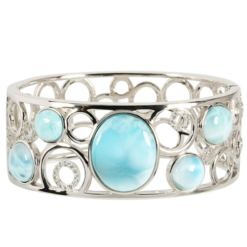 Sterling Silver Larimar Pebbles By The Sea Bangle