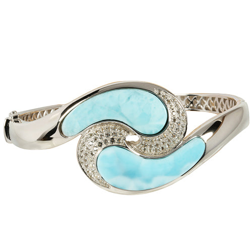 Sterling Silver Larimar Wave with CZ Bangle Bracelet