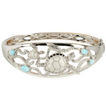 Sterling Silver Swimming Turtle with Larimar Bead Bangle