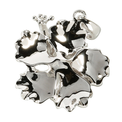 Sterling Silver Rhodium High Polish Hibiscus Pendant(L)
