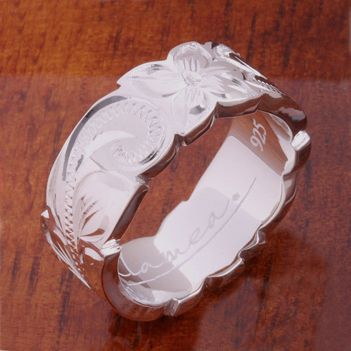 Hawaiian Scroll with Plumeria Cut Out Edge Ring Heavy Weight