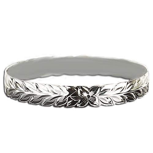 Sterling Silver Hawaiian Maile Cut Out One Tone Baby Bangle 6mm/8mm