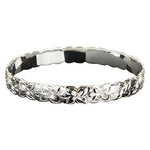 Sterling Silver Hawaiian Jewelry Plumeria Engraved Bangle