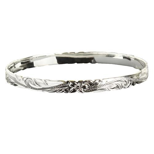 Sterling Silver Hawaiian Heirloom Scroll Cut Out Baby Bangle Classic Style