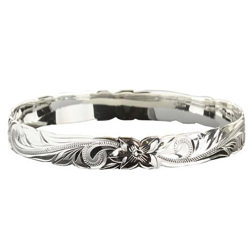Classic Hawaiian Sterling Silver Scrolling Plumeria Bangle Cut Out Edge