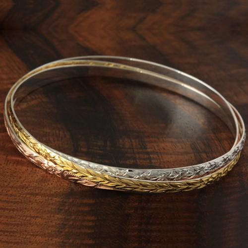 Sterling Silver Hawaiian Bangle 3 in 1 Heirloom Scroll Engraving Bangle Tri-color