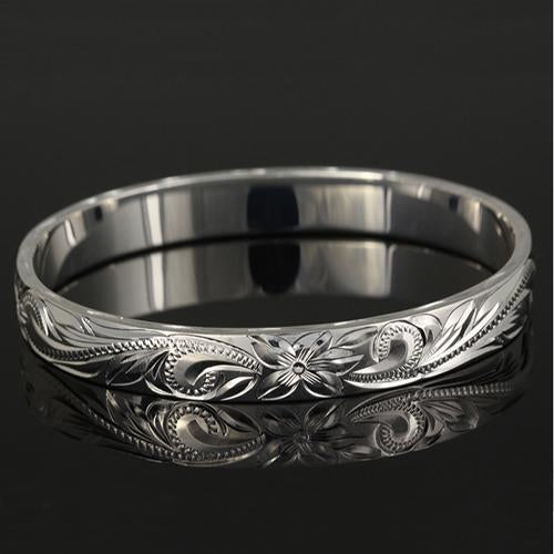 Extra Heavy Weight Sterling Silver Hawaiian Heirloom Bangle Straight Edge