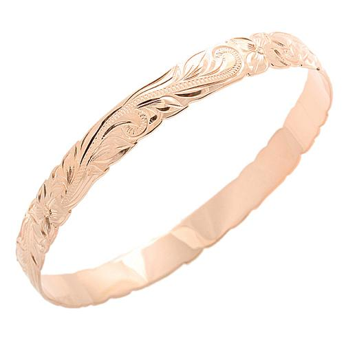 Classic Style Sterling Silver Hawaiian Bangle Heirloom Scrolling Pink Gold Plated