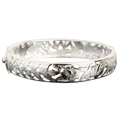 Hawaiian Jewelry Tropical Flower Open Bangle