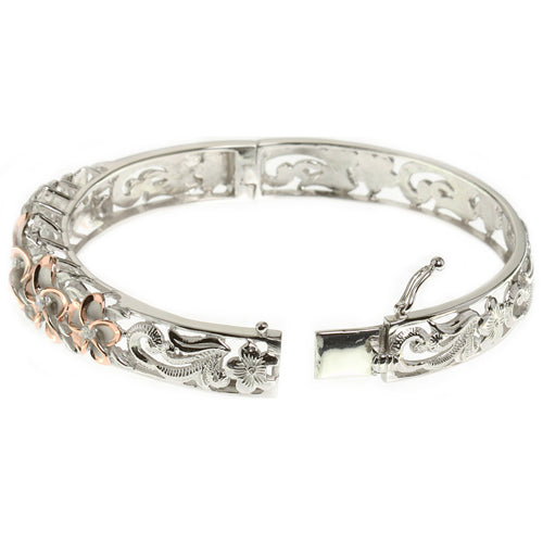 Hawaiian Jewelry 10-15mm 7 Plumeria Rhodium Bangle PG