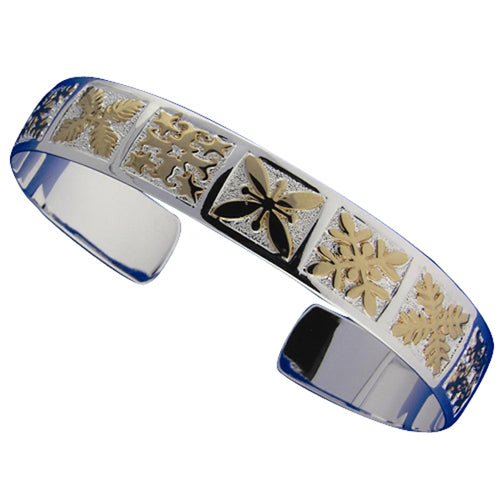 Hawaiian Jewelry Quilt Two Tone Cuff Bangle