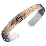 Hawaiian Jewelry Double Bangle 10x8mm Scroll PG