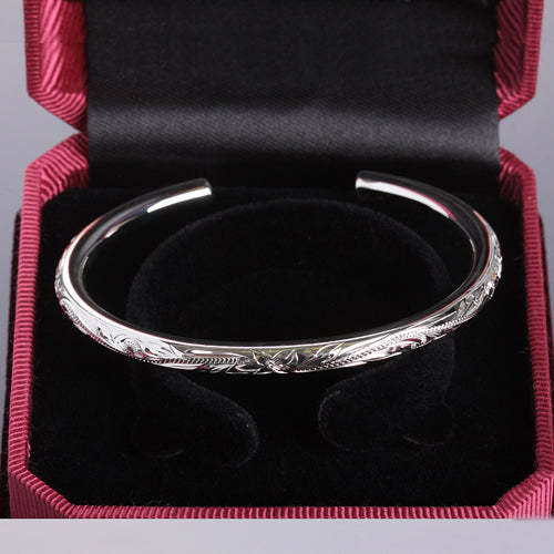 Hawaiian Jewelry Scrolling Plumeria Engraving Round Band Cuff Bangle One Tone 5.5mm