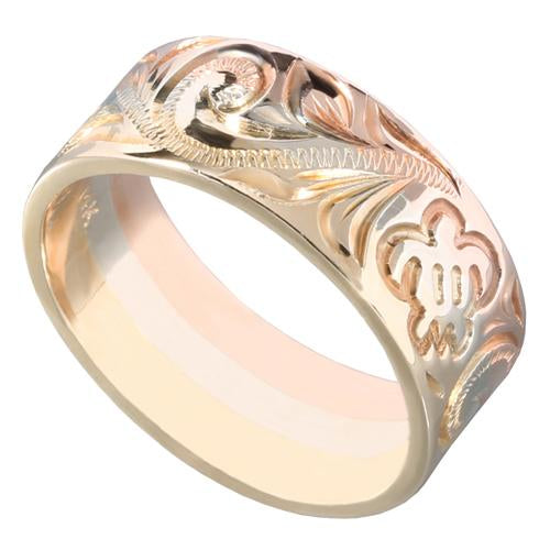 Hawaiian Scroll and Honu Engraving Heirloom Ring 14K Tri-gold Made 8mm
