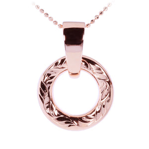 Sterling Silver Round Engraving Pendant Pink Gold Plated