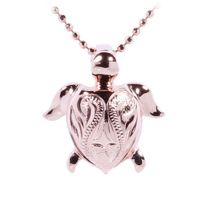 Small Hand-made Scroll Turtle Pendant Stering Silver Pink Gold Plated