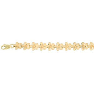 14k Yellow Gold Plumeria Linked Bracelet