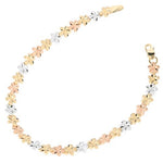 14k Yellow Gold Tri-Color Plumeria Linked Bracelet 5mm
