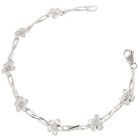 14k White Gold Plumeria Twist Bar Bracelet