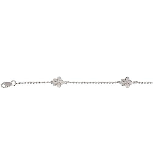 14K White Gold Bead Chain Hawaiian Plumeria Bracelet