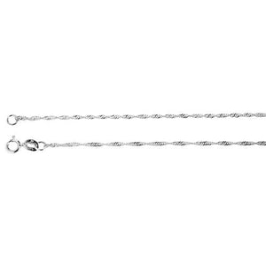 14k White Gold Singapore Chain