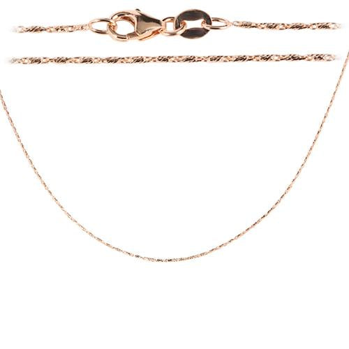 14K Pink Gold Diamond cut Bar Chain