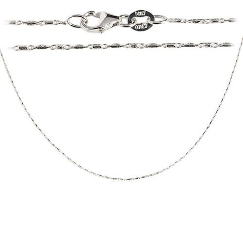 14K White Gold Diamond cut Bar Chain