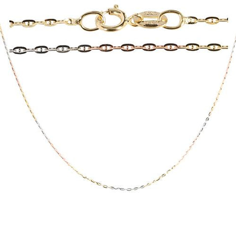 14K Gold Tri-color Link Chain