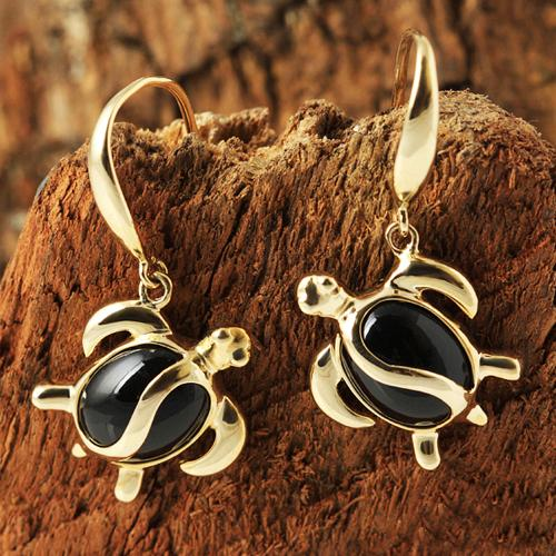 Yellow Gold Black Coral Inlaid Honu(Hawaiian Turtle) Hook Earring