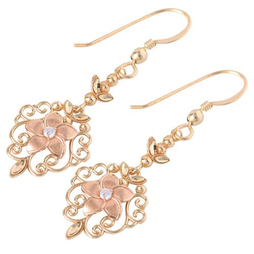 14K YG/PG Fancy Plumeria Hook Earring
