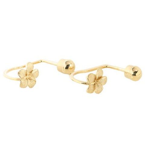 14K Gold 6mm Plumeria Screwback Earrings
