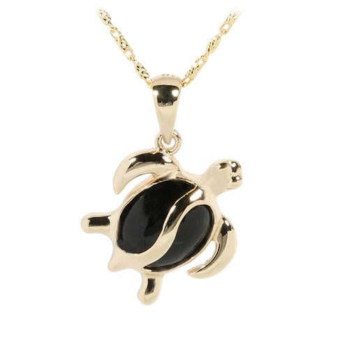 14K Yellow Gold Honu (Hawaiian Turtle) Black Coral Inlaid Pendant (Chain Sold Separately)