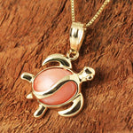 14K Yellow Gold Honu (Hawaiian Turtle) Pink Coral Inlaid Pendant (Chain Sold Separately)