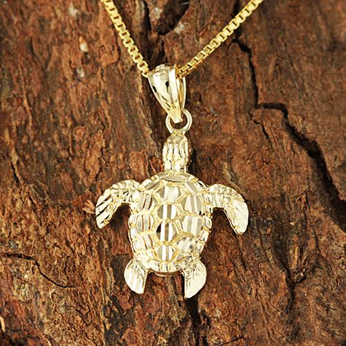14K Yellow Gold Honu (Hawaiian Turtle) Pendant (S/M) (Chain sold Separately)