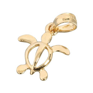 14K Yellow Gold Honu (Hawaiian Turtle) Pendant (Kid Size) (Chain Sold Separately)