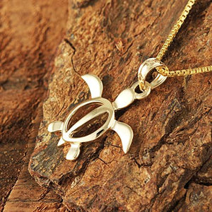 14K Yellow Gold Honu (Hawaiian Turtle) Pendant (M) (Chain Sold Separately)