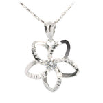 14K White Gold Plumeria Pendant with CZ 19mm (Chain Sold Separately)