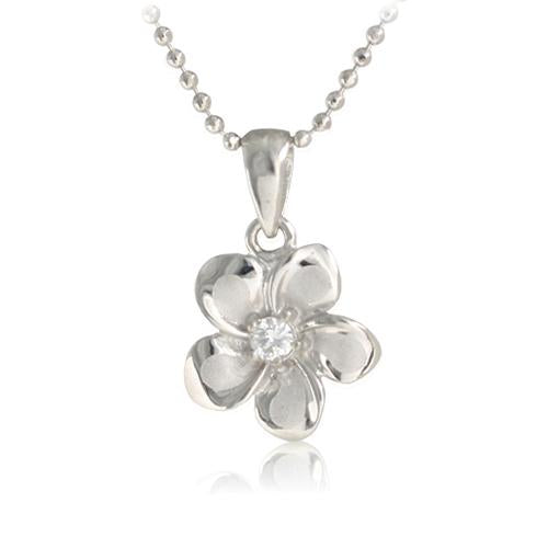 14K White Gold Plumeria Pendant with CZ (XS/S/M/L) (Chain Sold Separately)
