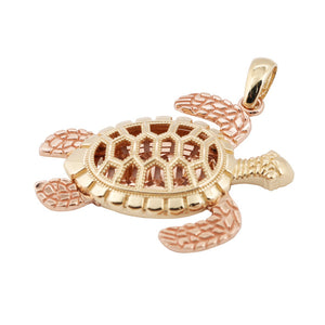 14K Gold Hawaiian Jewelry Yellow Gold/Pink Gold Two Tone Turtle Shape Pendant