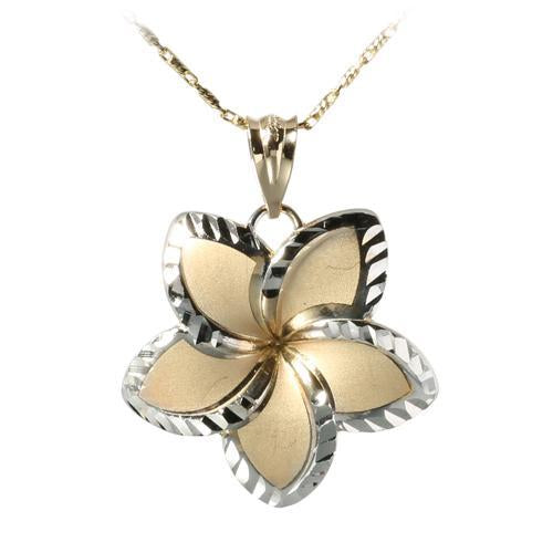 14K Yellow Gold and White Gold Two Tone Plumeria Pendant(22mm)