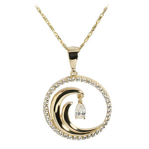 14K Yellow Gold Wave in Circle Pendant CZ Inlay(Chain Sold Separately)