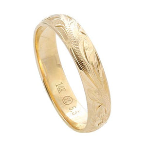 Hawaiian Jewelry 14K Yellow Gold 4mm King Scrolling Ring