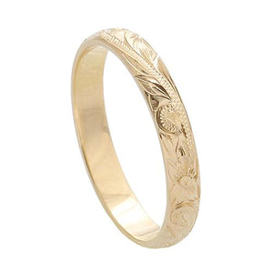 Hawaiian Jewelry 14K Yellow Gold 3mm King Scrolling Ring