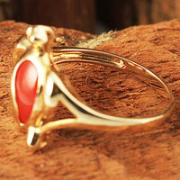 Yellow Gold Honu Shape with Red Coral Inlaid Hawaiian Ring