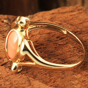Yellow Gold Honu with Pink Coral Inlaid Hawaiian Ring