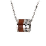 Titanium Koa Wood Cubic Zirconia Barrel Pendant 10mm