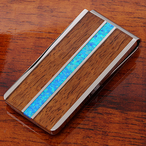 Koa Wood Center Opal Inlay Stainless Steel Made Money Clip