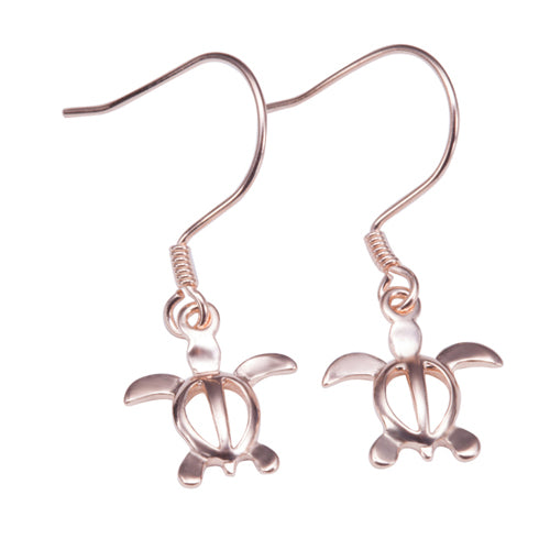 Sterling Silver Rose Gold Plated Tinny Honu Hook Earring